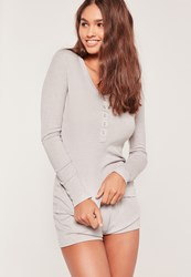 Missguided Ribbed L S Top And Shorts Pj Set Grey