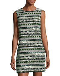Cynthia Steffe Courtney Sleeveless Geometric Jacquard Shift Dress Green