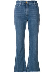 Etro Embroidered High Rise Jeans Blue