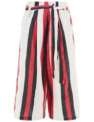 Ace And Jig Red Striped Cotton Wide Trousers Multi