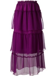 Sonia Rykiel Layered Sheer Midi Skirt Pink Purple