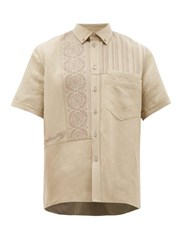 Rochas Embroidered Panel Canvas Overshirt Brown