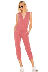 Sundry Wrap Jumpsuit Red