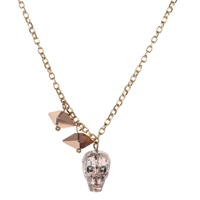 Nadia Minkoff Crystal Skull And Double Spike Necklace Gold Patina