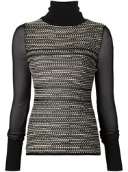Roland Mouret Patterned Front Sheer Knit Top Black