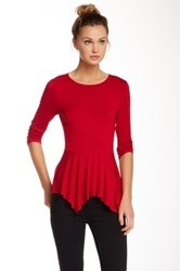 Karen Kane 3 4 Length Sleeve Peplum Blouse Red