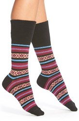 Women's Hot Sox Fair Isle Crew Socks Black