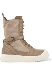 Atelje 71 Edda Suede And Leather High Top Sneakers Taupe