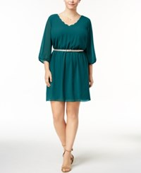 Amy Byer Bcx Trendy Plus Size Belted A Line Dress Dark Teal