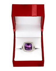 Lord And Taylor Sterling Silver Purple Amethyst Red Box Ring