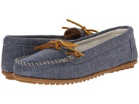 Minnetonka Canvas Moc Navy Canvas Women's Moccasin Shoes Blue