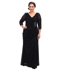 Adrianna Papell Plus Size 3 4 Sleeve Side Drape Gown Ink Women's Dress Navy
