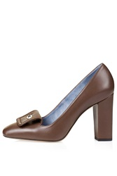 Leather High Heel Courts By Unique Brown