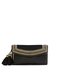 Vince Camuto Bessy Leather Beaded Flap Tassel Clutch Oxford