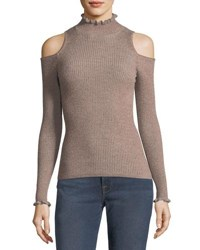 Rebecca Taylor Open Shoulder Metallic Ribbed Pullover Sweater Pink Gold