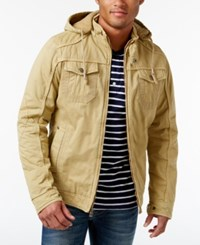 X Ray Men's Full Zip Hooded Jacket Khaki