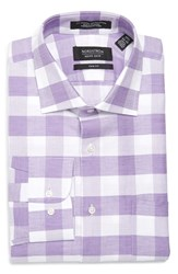 Nordstrom Men's Big And Tall Men's Shop Trim Fit Check Linen And Cotton Dress Shirt Purple Mitten