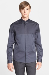 Paul Smith Slim Fit Houndstooth Jacquard Colorblock Shirt Elephant