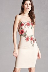 Forever 21 Embroidered Floral Tube Dress Taupe