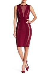 Wow Couture Mesh Contrast Bodycon Dress Red