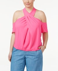 Rachel Roy Trendy Plus Size Twist Front Top Neon Pink