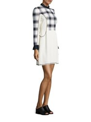 3.1 Phillip Lim Surf Plaid Paneled Dress White Multicolor