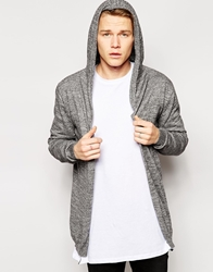 Asos Knitted Hooded Cardigan Blackwhitetwist