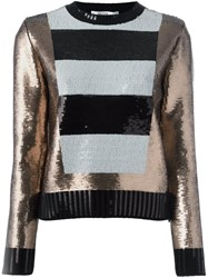 Max Mara Striped Panel Sequin Jumper Black