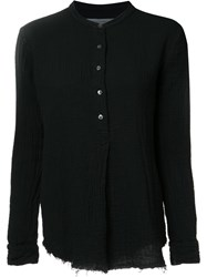 Raquel Allegra Band Collar Shirt Black