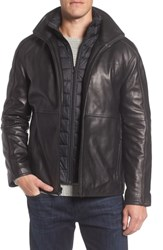 Marc New York Hartz Leather Jacket With Quilted Bib Black