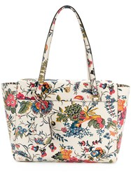 Tory Burch Floral Print Tote Women Leather One Size