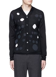 Comme Des Garcons Dot Print Cutout Wool Cardigan Black