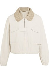 Bottega Veneta Silk Organza Trimmed Cotton Canvas Bomber Jacket Off White
