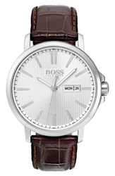 Hugo Boss Round Embossed Leather Strap Watch 43.7Mm Silver Brown