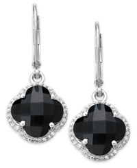 Macy's Sterling Silver Black Onyx 6 3 4 Ct. T.W. And White Topaz 5 8 Ct. T.W. Clover Earrings