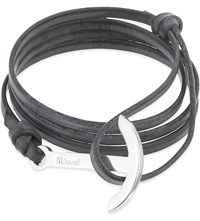Miansai Leather Anchor Bracelet Antique Gray