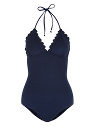 Accessorize Scallop Halterneck Swimsuit Navy