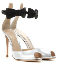 Gianvito Rossi Metallic Leather And Satin Sandals Silver