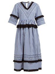 Molly Goddard Frank Cross Stitched Gingham Cotton Midi Dress Navy