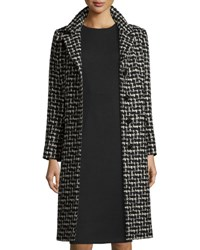 Cinzia Rocca Four Button Chesterfield Tweed Coat Black Black Tweed