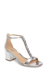 Jewel Badgley Mischka Women's Lindsey Embellished T Strap Sandal Silver Leather