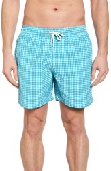 Barbour Gingham Check Swim Trunks Aqua