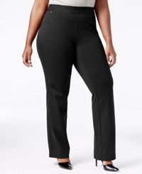 Inc International Concepts Plus Size Pull On Straight Leg Pants Only At Macy's Deep Black