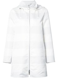 Akris Punto Striped Hooded Parka White