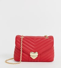 Valentino By Mario Valentino Red Quilted Heart Lock Detail Cross Body Bag