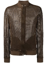 Salvatore Santoro Interlaced Bomber Jacket Brown