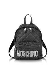 Moschino Black Quilted Nylon Small Backpack W Silver Laminated Logo