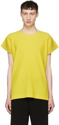 Homme Plisse Issey Miyake Yellow Pleated T Shirt