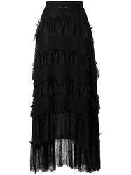 Philosophy Di Lorenzo Serafini Ruffle Trim Maxi Skirt Black