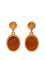 Versace Cameo Gold Tone Brass Dropped Earrings Brown